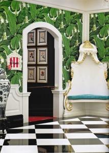 palm tree wallpaper lobby